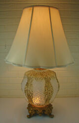 Vintage Mid-century Modern Opalescent Glass Gold Gilded Gaudy Double Light Lamp