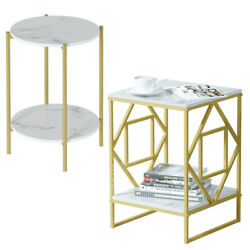2 Tier Marble Simple Coffee Table Modern Square Sofa Side End Table Living Room