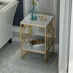 Heavy Duty Square Marble Table 2tier Bedside Sofa End Side Table With Gold Frame