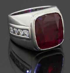 Heavy 14k Wg 13.20ct Vs Diamond And Synthetic Ruby Men's Ring Size 7.75