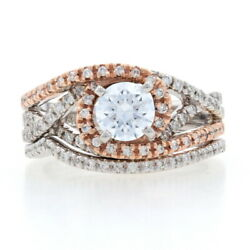 Neuf Semi Montandeacutee Bague De Fianandccedilailles And Mariage Bande - 14k Blanc And Or Rose