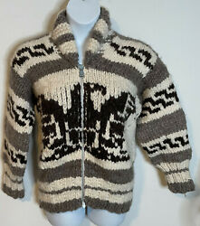 Authentic Cowichan Handknit Wool Eagle Cardigan Sweater New L Xl Native American