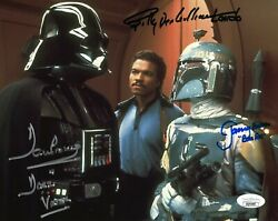 Star Wars- Jeremy Bulloch Dave Prowse And Billy Dee Williams Signed 8x10 Jsa Coa