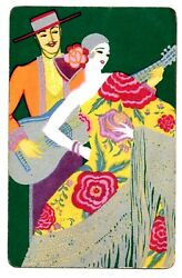 Deco Lady Swap Card Vintage Playing Card 1930s Silver