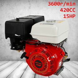 Used 4 Stroke 15 Hp 420cc Gas Engine Manual Recoil Start 190f Forced Air Cooling