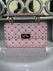Auth Valentino Pink Small Rockstud Spike Nappa Leather Bag