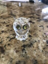 Crystal Figurines Miniature Owl With Green Eyes