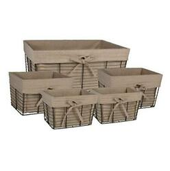 Farmhouse Chicken Wire Storage Baskets With Liner, Set Of 5, Vintage Taupe