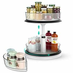2 Tier Lazy Susan Turntable Cabinet Organizer Height Adjustable 10and039and039 Clear La...