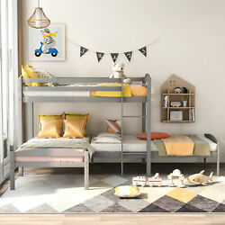 L-shaped Twin Over Twin Over Twin Bunk Bed For Home Bedroom Us Stock
