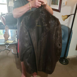 Chocolate Brown Non-sheared Beaver Reversible To Brown Leather Coat