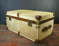 Vintage Amazing English Leather Trunks Chests Table Antique Finest Inspired Item