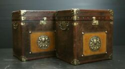 Vintage English Table Antique Finest Leather Handmade Amazing Pair Trunk Gift