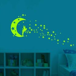 Fluorescent Wall Stickers Glow In The Dark Removable Self-adhesive Stars...