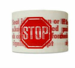 1-4-6-12-36-72 Rolls 2 X 110 Warning White Stop Sign Printed Packing Tape 2