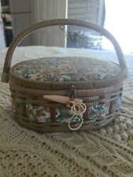 Antique Vintage Sewing Box Basket Floral Made In Taiwan Azar
