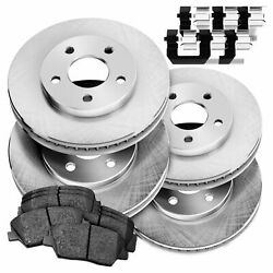 For 1999 Ford F-350 Super Duty Front Rear Psport Blank Brake Rotors+ceramic Pads