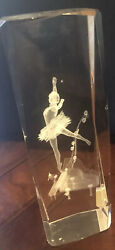 """Laser Etched Glass Block 3d Paper Weight - Ballerina, Music, Piano 6"""" Tall Gift"""