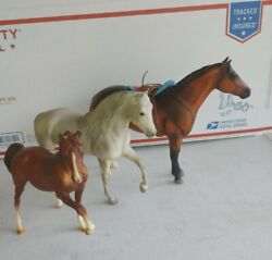 Lot of 3 Breyer Traditional Horses With RARE Retro Western Saddle