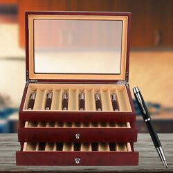 3 Layer 34 Slots Pu Luxury Wooden Pens Storage Box Fountain Pen Display Case Red