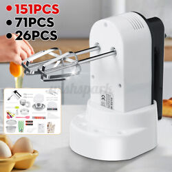Food Hand Held Mixer Electric Whisk Beater Baking Blender 5 Speed 150w White