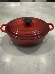 Le Creuset 23 Enameled Cast Iron Oval Dutch Oven With Lid 2.75 Qt Red