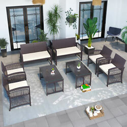 8pcs Outdoor Patio Furniture Rattan Wicker Chair And Table Set Garden Sofa Set