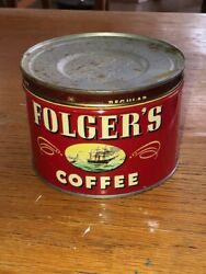 Vintage Original Folger's 1lb Coffee Can W Product 1950s Unused No Key Opened