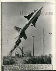 1959 Press Photo Early Test Model Of Nike Zeus Anti-missile Missile Launches Nm