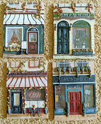 4 Kate Mcrostie 3d Resin French Hanging Wall Plaques Home Decor 4.5x 6 Chipped