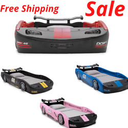Boys Turbo Race Car Twin Bed Toddler Kid Child Bedroom In Red Blueblack And Pink