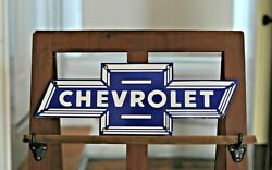 Iconic Porcelain Chevrolet Bow Tie Sign 20 X 7