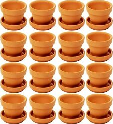 Small Terra Cotta Pots With Saucer- 16-pack Clay Flower Pots With Saucers, Mini
