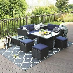 9pcs Rattan Patio Furniture Set Wicker Outdoor Sectional Sofa With Dining Table
