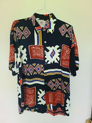 The Territory Ahead Abstract Multicolor Print Button Mens Shirt Large Southwest