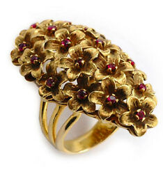 Antique 1940's Grandioso 18k Gold Rubies Flower Bouquet Ruby Ring Wow