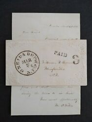 Ny Oneida Depot 2 1852 Stampless Cover + Letter Dpo Madison Co To Wampsville