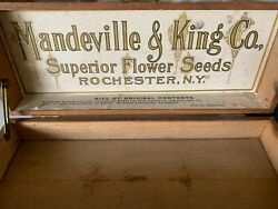 Old Antique Vintage Mandeville And King Advertising Flower Seed Box Store Display