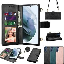 For Samsung Galaxy S21 Ultra S21 S21 Leather Card Wallet Phone Case Crossbody $9.98