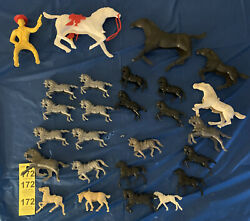 Lot Of 26 Plastic Horses, Tim Mee Toy And Assorted Black Silver White Horses
