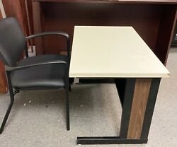 2 Vintage 1970s - Early 80s Exxon Office Systems Metal Unibody Tables/. Desks