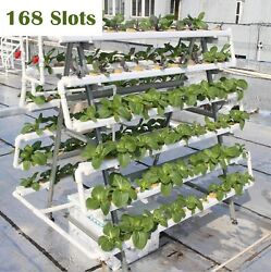 168 Sites Hydroponic Grow Tool Kits Garden Vegetable Nft System W/ Metal Stand