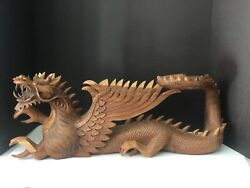 """Vintage Hand Carved Wooden Dragon W/ Wings Sculpture 26"""" Long X 9"""" Tall"""