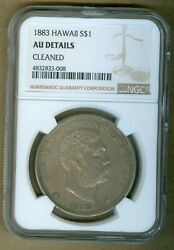 1883 Hawaii One Dollar Silver Coin Ngc Au Details Cleaned