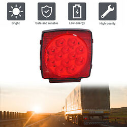 License Light Lamps Led Bulbs Submersible Trailer 12v Red Waterproof Square Tail