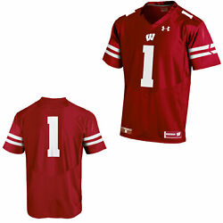Wisconsin Badgers Under Armour Red 1 Sideline Replica Football Jersey
