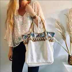 Anthropologie Miss Albright Kona Cream Canvase Leather Sequin Tote Purse Bag