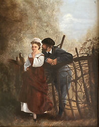 Spectacular Antique 1870s Artist Signed Two Lovers Oil Painting 8andrdquo X 10andrdquo