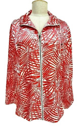Chicos Weekend Size Xl/16 Red And White Light Weight Front Zip Jacket Top