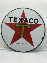 Original And Authentic ''texaco'' Gas And Oil Pump Plate 15 Inches Porcelain Sign